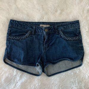 2.1 Denim Braided Blue Denim Shorts Dark Wash